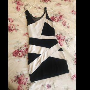 Bebe black & white bodycon dress XS